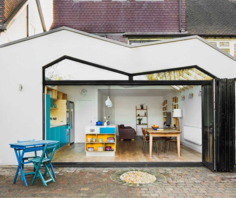 The whole extension can be opened up to the outdoor spaces with a folding door