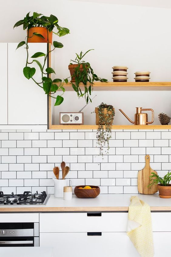 open minimalist shelving combined with a white cabinet is a nice idea for a contemporary kitchen