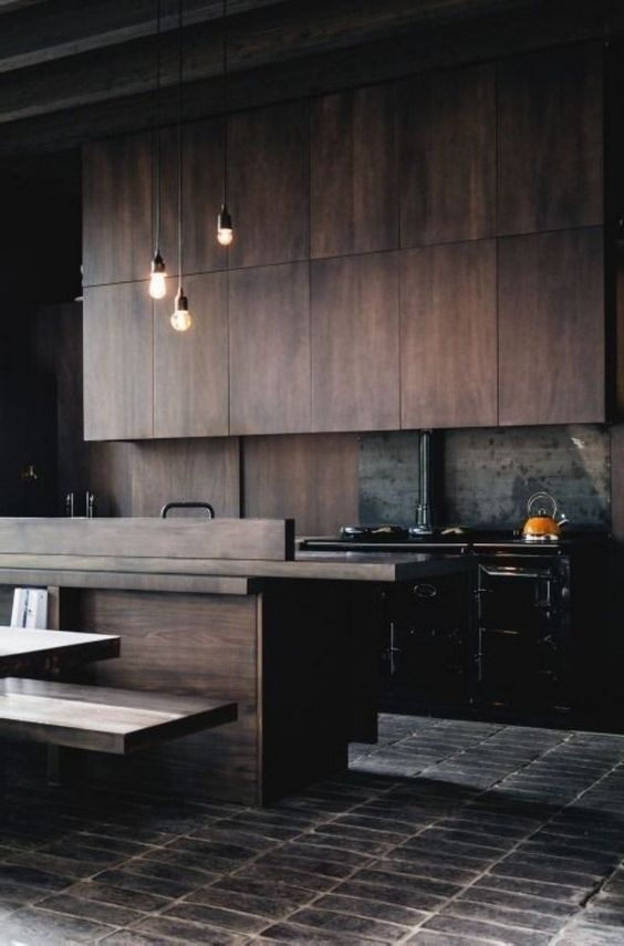 change your blasck cabinets to wooden ones and your kitchen will instantly get a cozy vibe