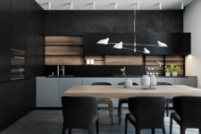 06 a minimalist black kitchen made cozier and more welcoming with a wooden backsplash and a wooden table next to it