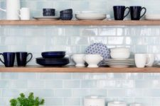 06 stylish minimalist shelves in front of a blue tile wall look outstanding and will make your objects displayed the best way possible