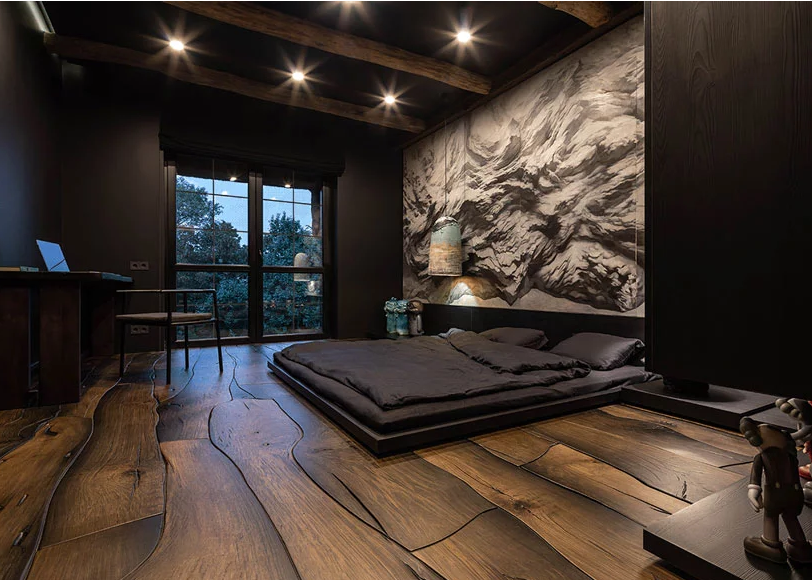 a cool bedroom design in moody style