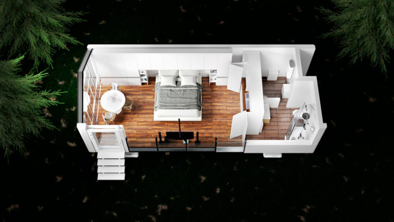 This is a model of mOne - a Haus with a single bedroom that you can also see in the pics above