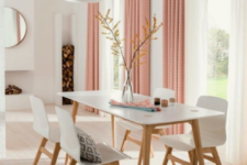 07 a white dining room made fresher and cooler with peachy pink printed curtains – that's an easy and fast way