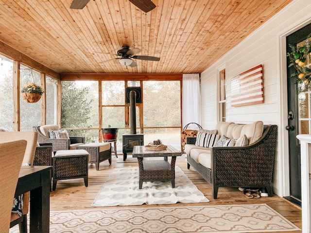 a screened porch is an awesome place to relax