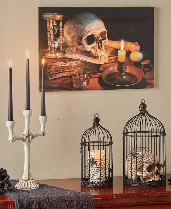 a bone candelabra with tall black candles is a timeless Hallowene decoration, which can be DIYed