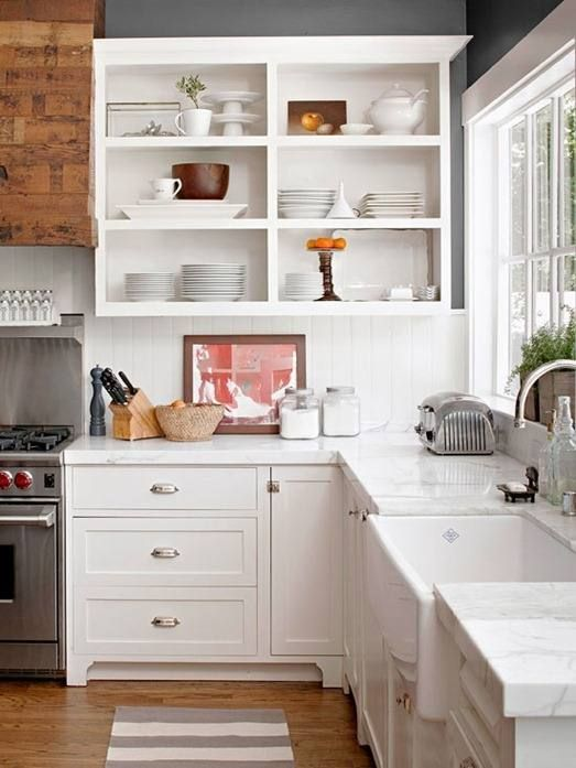 if you love open storage, you can remove the doors of your cabinets or order cabinets with no doors