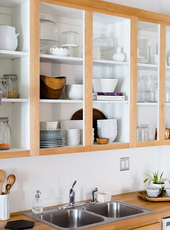 cabinets with no doors look very stylish and are very comfortable in using, keep them as open as possible