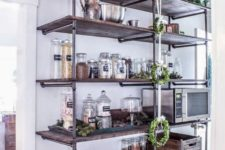 17 such an oversized industrial shelving unit will be a nice idea not only for a kitchen but also for a pantry
