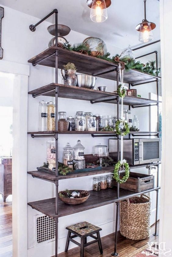 such an oversized industrial shelving unit will be a nice idea not only for a kitchen but also for a pantry