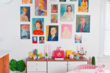 19 a colorful space done in orange and pink, with a bright and colorful gallery wall, which adds a whimsy touch to the space