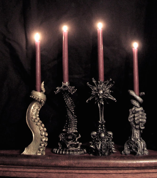 creepy Gothic candleholders with skulls, snakes, skeletons, octopi and other scary stuff