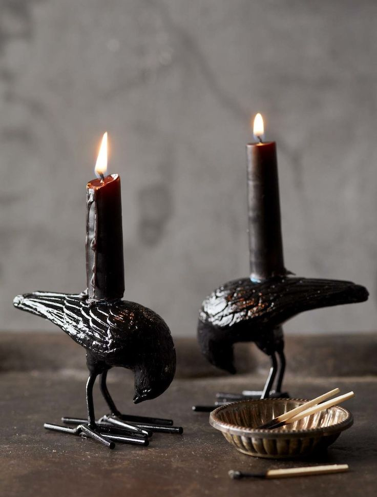 elegant and stylish blackbird candleholders with black candles will fit any Halloween table setting or mantel