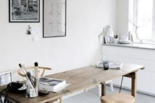 a neutral home office design