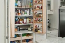 02 a neutral kitchen with a built-in pantry with lots of various shelves and drawers to store everything you may need