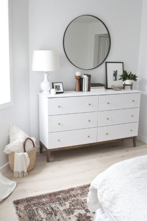 a simple IKEA pine dresser turned into a chic West Elm inspired piece will give you much storage space