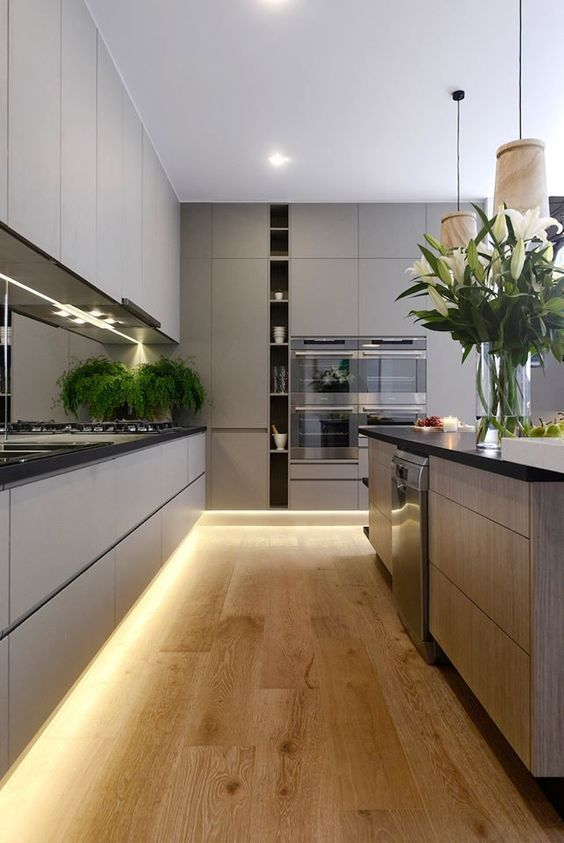 accent your kitchen with built-in lights adding dimension and light to it, make it look more modern and bold
