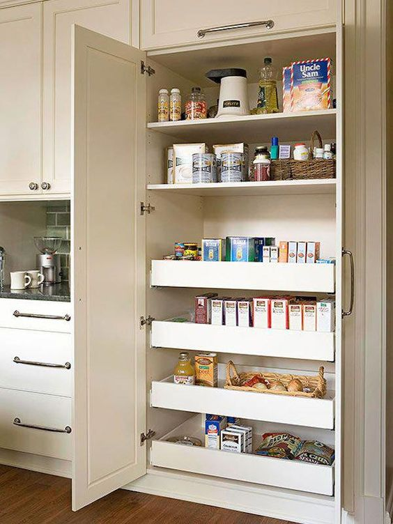 a neutral built-in pantry doesn't stand out a lot from the overall kitchen decor and gives much storage space