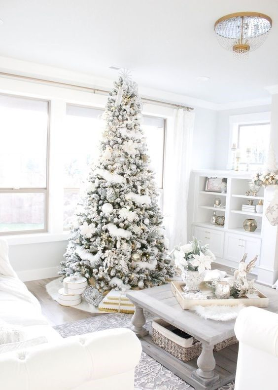 a flocked Christmas tree with metallic and white ornaments and lots of gift boxes in white around