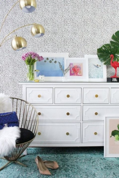 an IKEA Hemnes hack with inlays and geometric brass knobs looks very glam and chic and will accommodate all your stuff