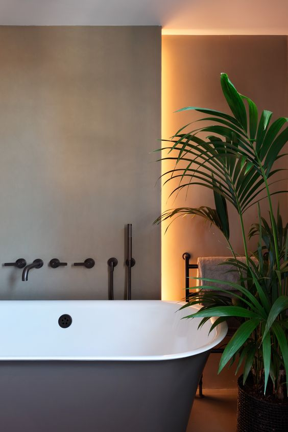 some built-in lights in the bathroom will highlight your bathroom or some separate zones like a bathtub one