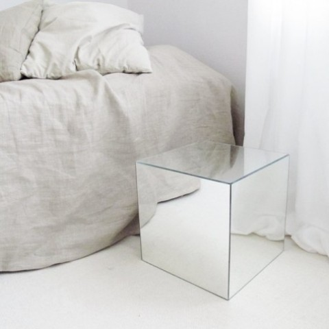 IKEA Lots mirrors turned into a stylish statement nightstand for a bedroom - a minimalist or a contemporary one