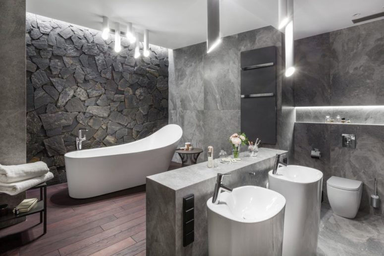 a luxorious bathroom deisgn with lots of marble