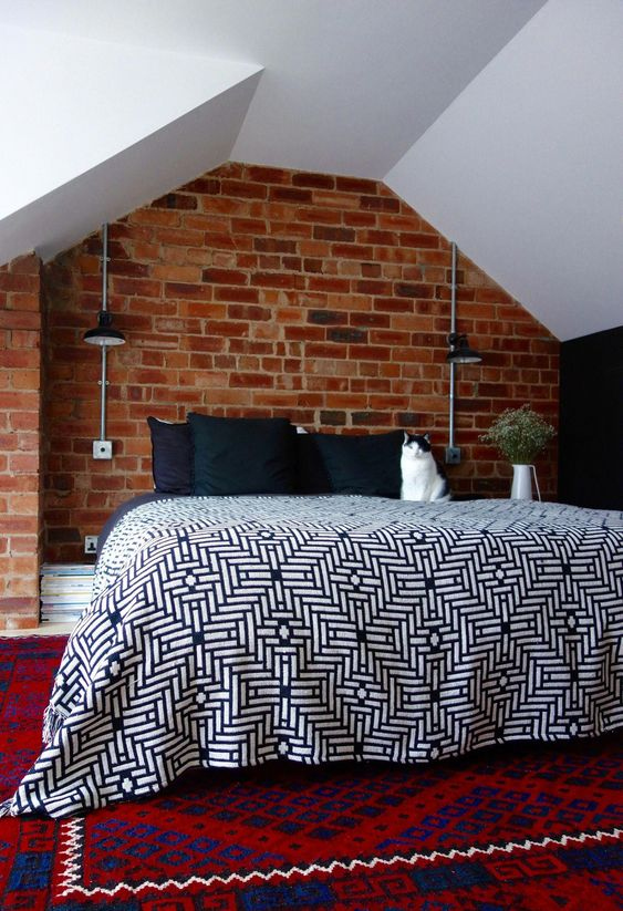 a single red brick wall in your bathroom will make it bolder, cooler, more modern and fresh