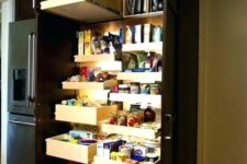 11 a dark built-in pantry with pull out shelves and drawers and additional lights help you find everything