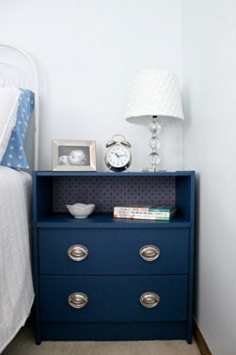 an IKEA Rast dresser painted navy, with contact paper inside and chic metallic knobs