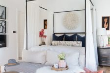 12 a black canopy bed with white curtains and bedding is a stylish and chic idea with a vintage feeling