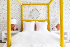 13 a bold yellow velvet upholstered canopy bed is a colorful statement in the bedroom that brings cheer
