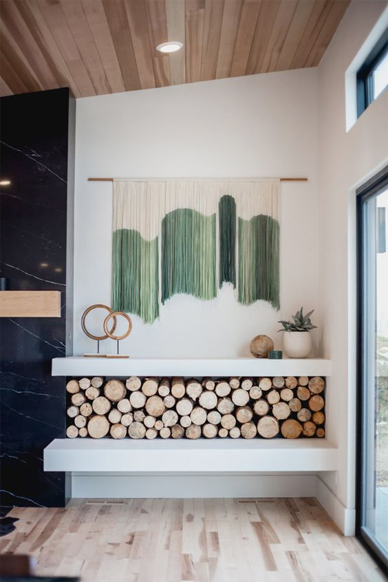a color block green and white fringe wall hanging will add color to your space and can be easily DIYed