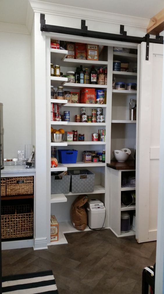 a cool small yet functional built in pantry with sliding doors that allow opening it easily and fast