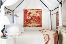 15 a cozy vintage bed with white curtains and beautiful forged decor on its top makes the bedroom refined