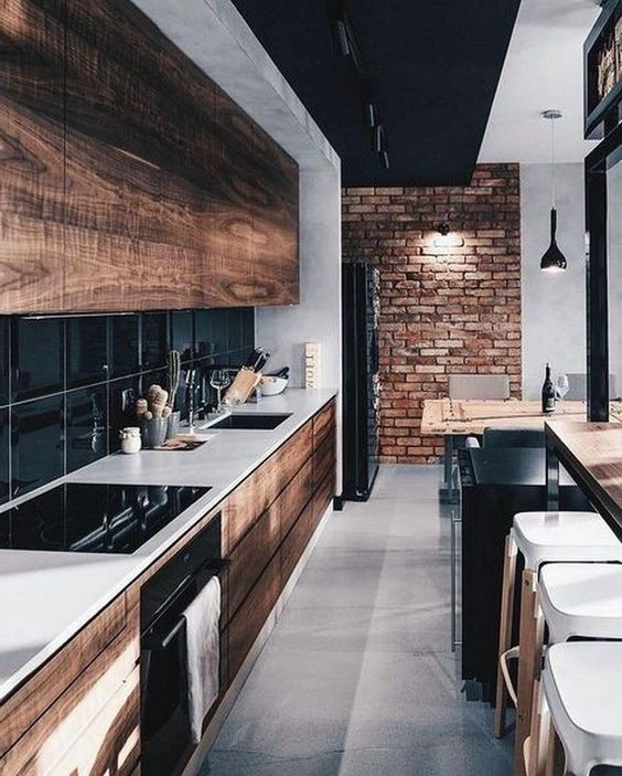 reclaimed wooden cabinets like these ones will make your kitchen very eye-catching and welcoming