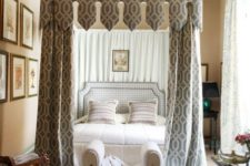 16 a creative printed canopy and matching curtains make the bedroom more refined, chic and give it a vintage feel
