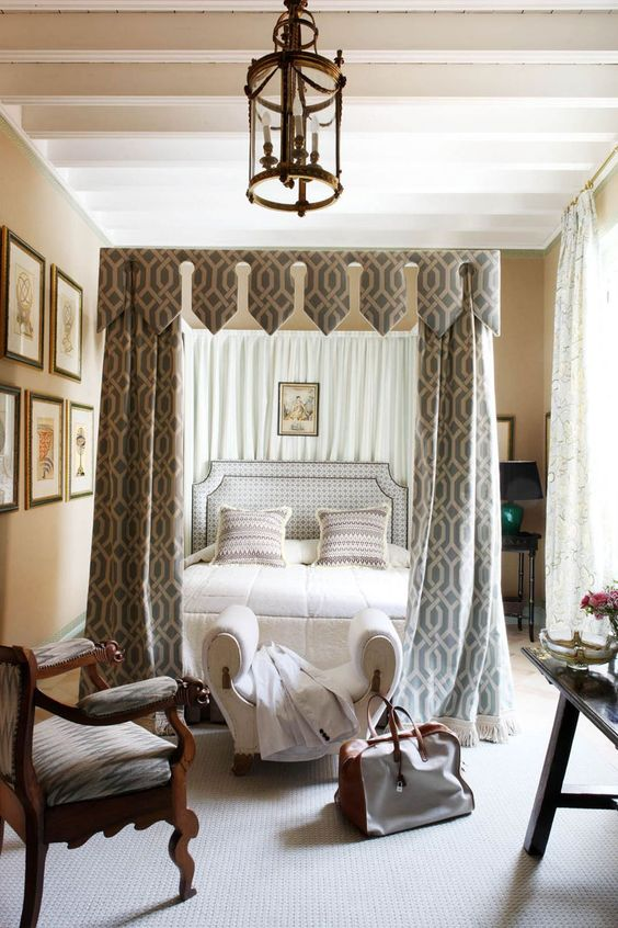 a creative printed canopy and matching curtains make the bedroom more refined, chic and give it a vintage feel