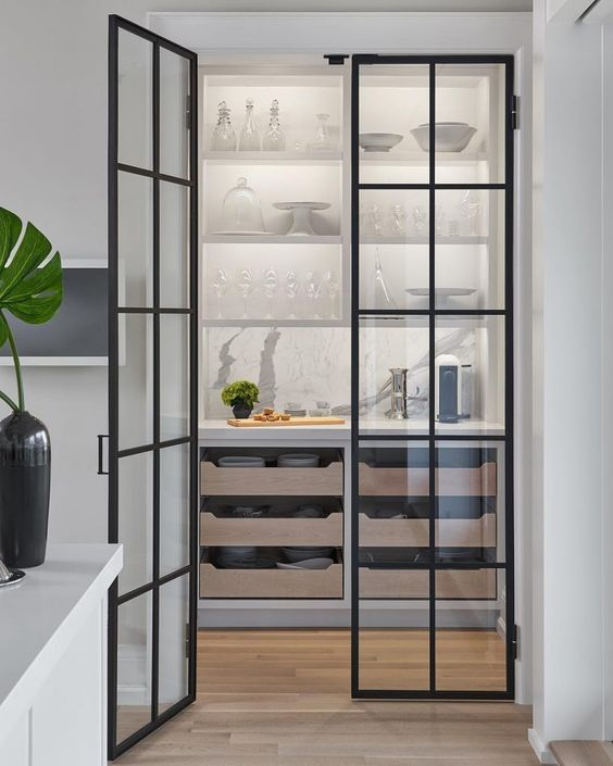 a stylish pantry with shelves, pull out drawers and framed glass doors that allow seeing what's inside all the time