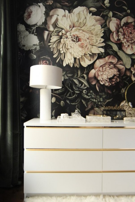 an IKEA Malm dresser refreshed with gold contact paper looks very glam and minimalist at the same time