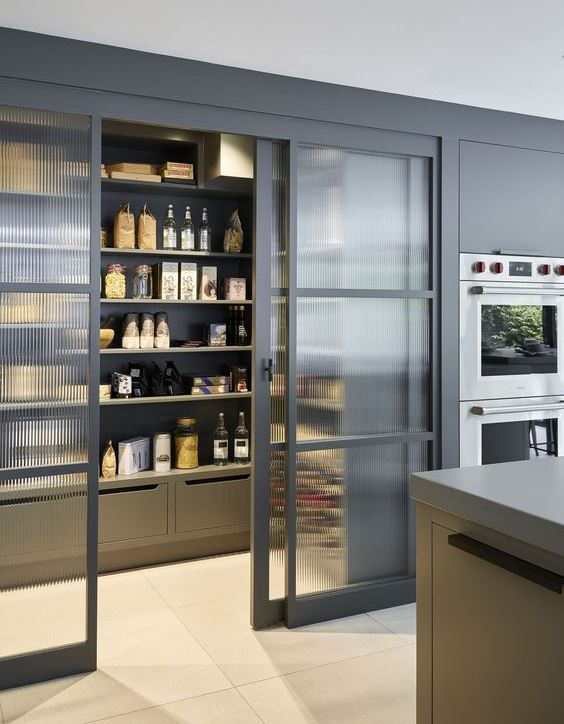 a large pantry with shelves and boxes and rain glass sliding doors that gently show off soem objects but not completely