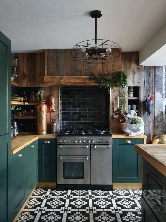 add a cool textural touch to your kitchen to the space with a reclaimed wooden wall