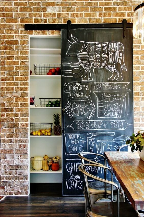 a built in pantry with a cool door   a sliding chalkboard one, on which you can make notes and it won't take any space