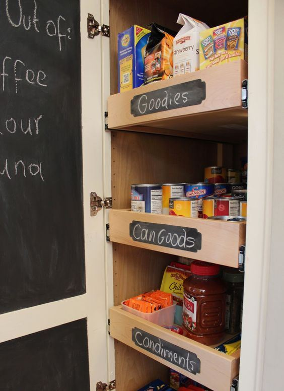 a small built in pantry with a chalkboard door on both its sides   you can make hidden notes, too