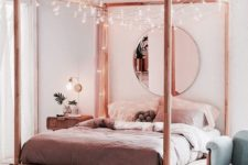 22 hang lots of bulbs on your canopy bed to make it lit up and bold and highlight your sleeping space