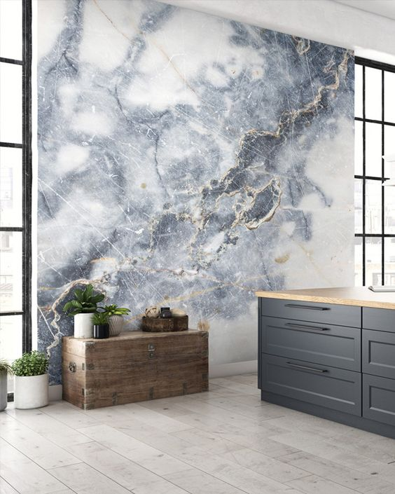a grey and gold marble wallpaper wall will make your space more refined and more chic