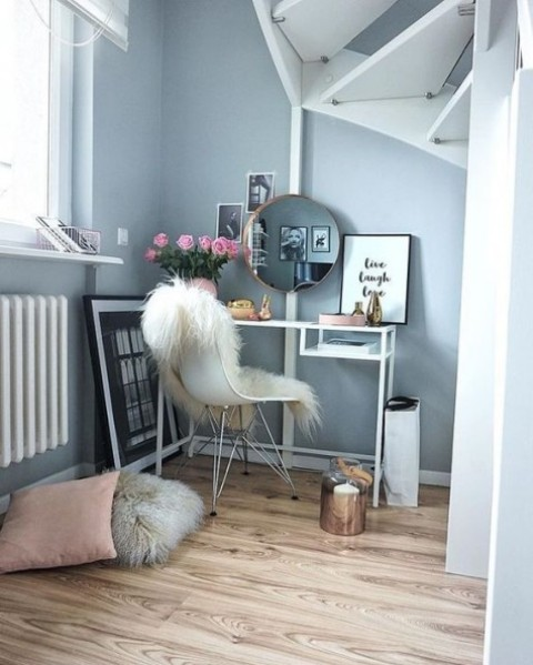an IKEA Vittsjo desk used as a vanity table – just place it by the window to get more natural light for makeup