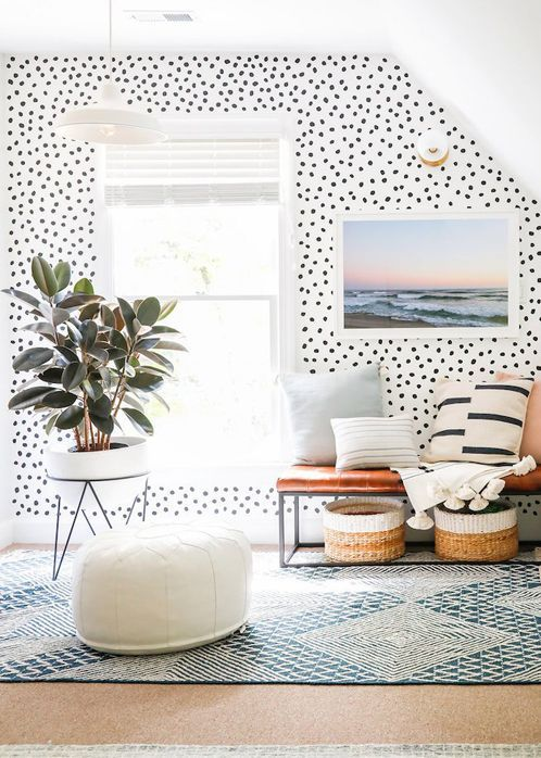 a Dolmatin wallpaper wall is a stylish and fun idea for a contemporary home and it brings a touch of whimsy