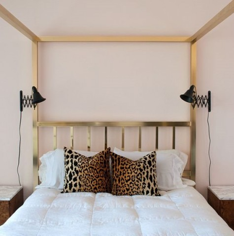 Ikea Frack mirrors and lamps of your choice can be turned into comfortable accordion sconces for a bedroom
