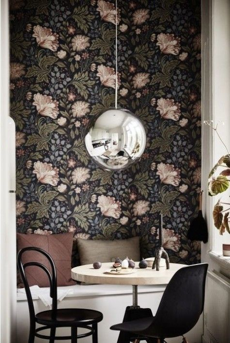 moody floral wallpaper is a creative and elegant idea for a contemporary space, it will give it a refined touch